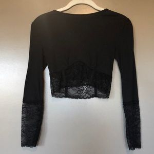 Free People Lace Top- Black